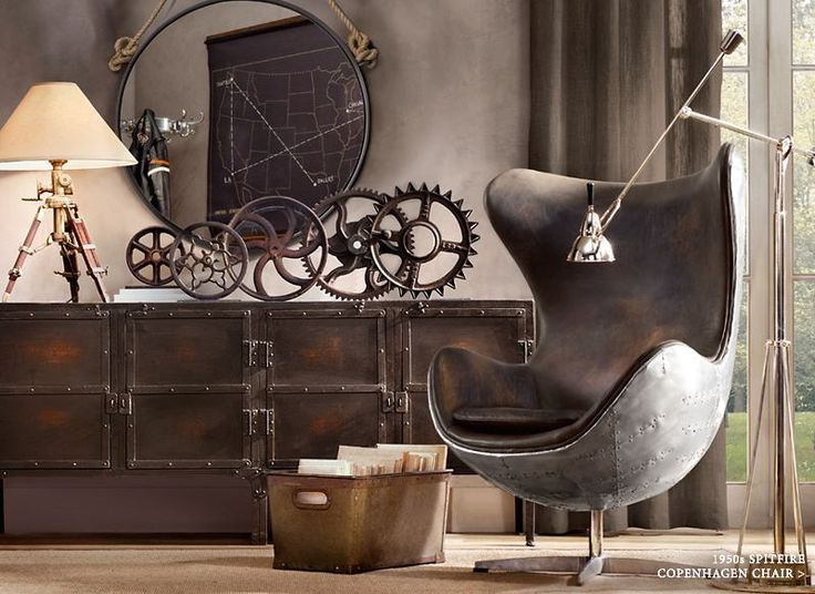 Industrial - I love the wheels.  Some have teeth (gears), a fly wheel, a cart wheel, love the variation in sizes ad grouping