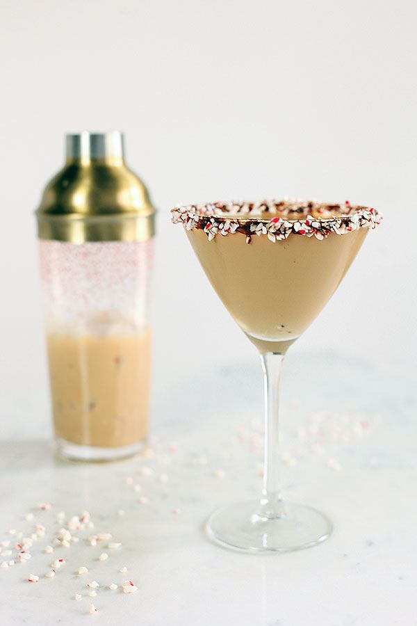 A Chocolate Peppermint Bark Martini: 1 oz. Godiva Chocolate Liqueur 0.5 oz. Peppermint Schnapps 0.5 oz. Vodka