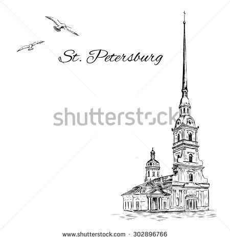 St. Petersburg landmark, Russia, Peter and Paul Fortress in St. Petersburg, Vector engraved urban sketch with space for text isolated on white background, Historical building line art for touristic