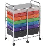 Buy Honey Can Do Doublewide 12-Drawer Rolling Cart, Chrome/Clear at Walmart.com
