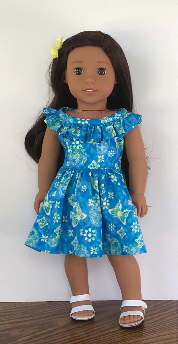 18 doll blue green and white butterfly print dress with