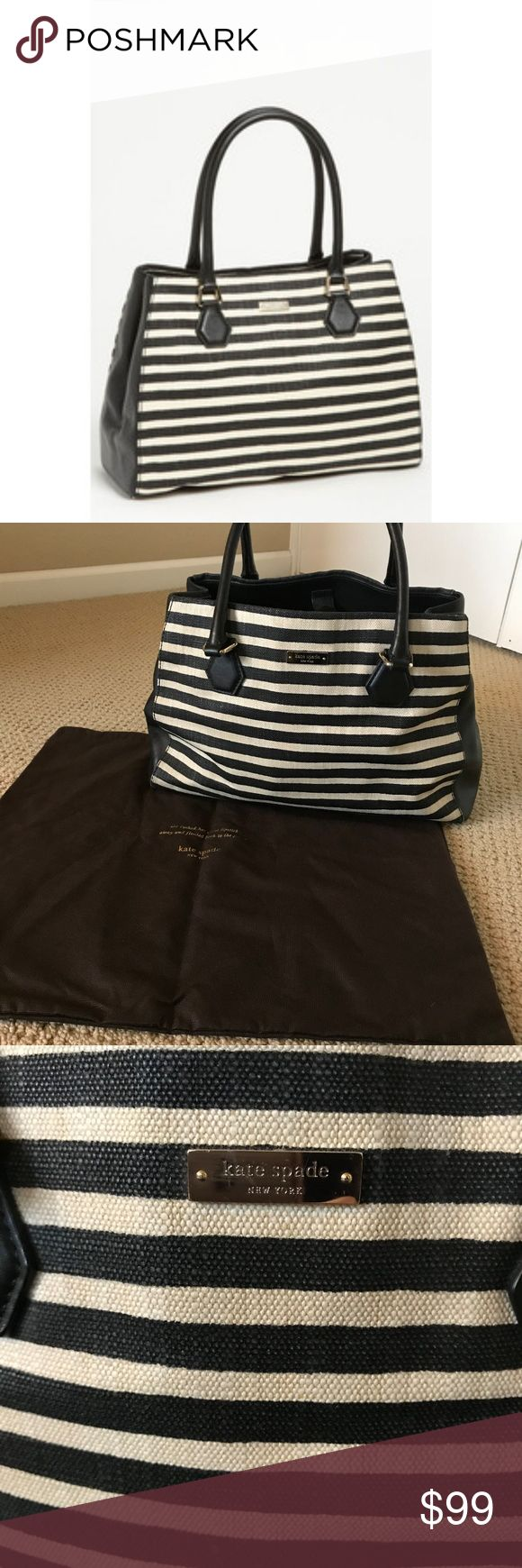 Kate Spade Catherine Street Louise Black/White Bag Black and white striped Catherine Street Louise purse in good condition. No stains or problems but slightly slouchy from use. Closes with a magnetic clasp (see last photo). Comes with original Kate Spade storage bag. kate spade Bags Satchels