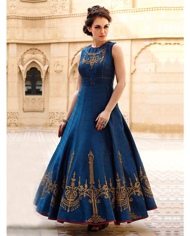 1. Navy Blue printed bhagalpuri silk dress 2. Beautiful design was printed on front of dress 3. Comes with sleeveless 4. Can be stitched upto size 40 inches
