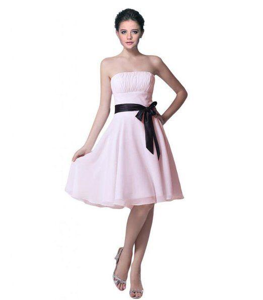 Short Strapless Chiffon Bridesmaid Evening Party Prom Dress