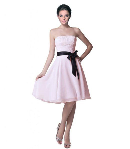 Short Strapless Chiffon Bridesmaid Evening Party Prom Dress