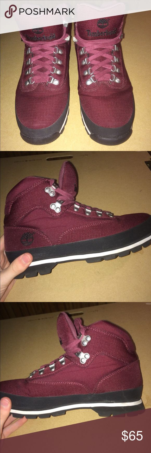 Men's Timberland EuroHiker Maroon (Size 9) very comfortable, very lightly worn, Timberland EuroHiker boots for sale. Fits like 9.5 (runs large). Box not included. Timberland Shoes Lace Up Boots