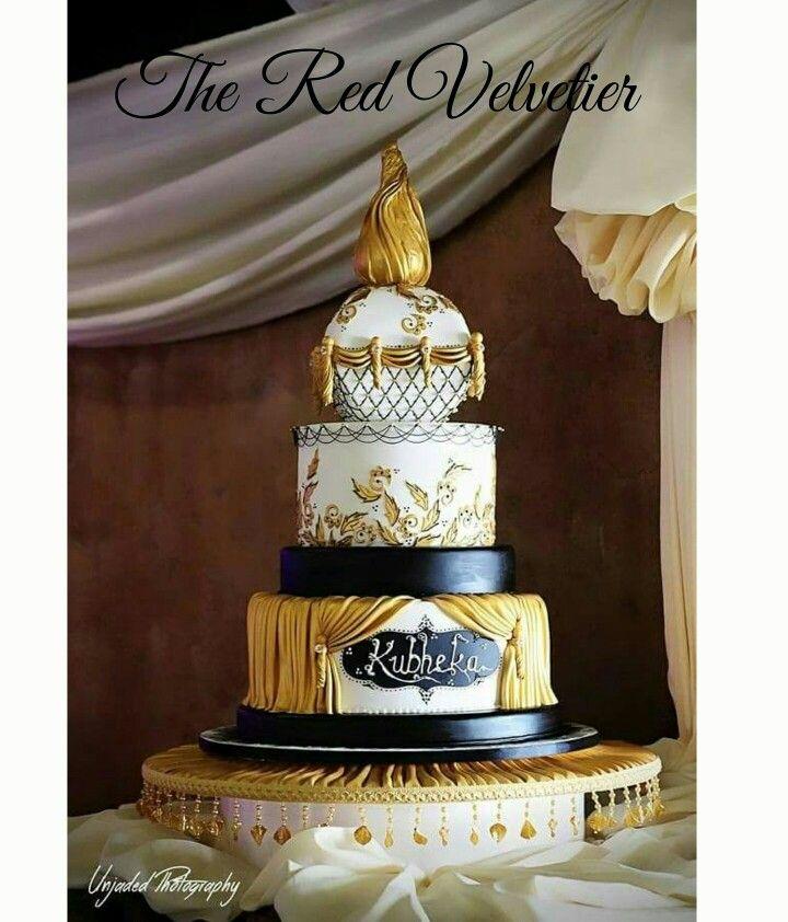 3 tier Arabian Inspired Wedding cake. Original Red Velvetier design