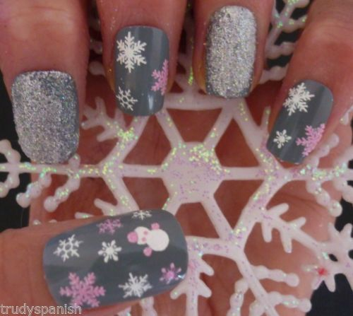 Christmas Snow White Pink Snowflakes Snowman Design 3D Nail Art Stickers Decals #winter #gray