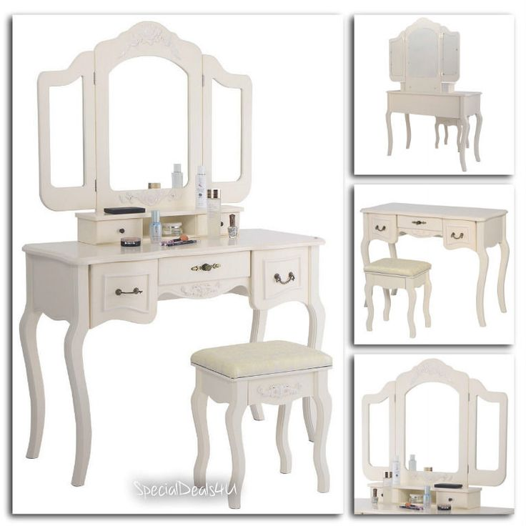 White Vanity Makeup Dressing Table Set Stool 5 Drawer Folding Mirror Wood Desk…