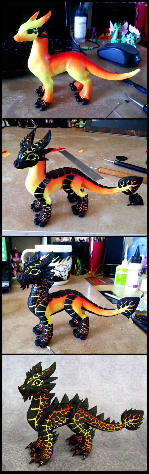 Dragons and Beasties clay magma dragon