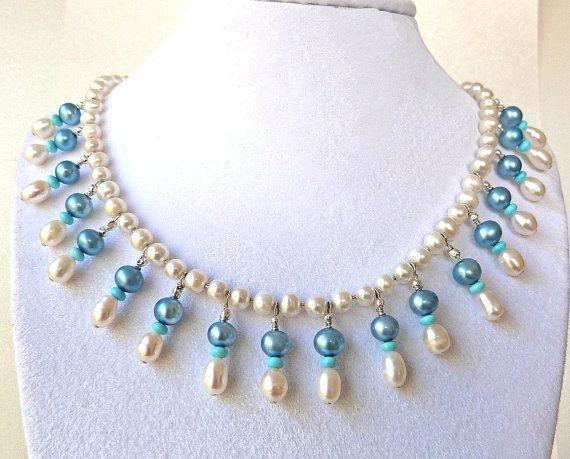 Blue & White Fine Pearl Cleopatra Collar by TransfigurationsJlry, $178.00