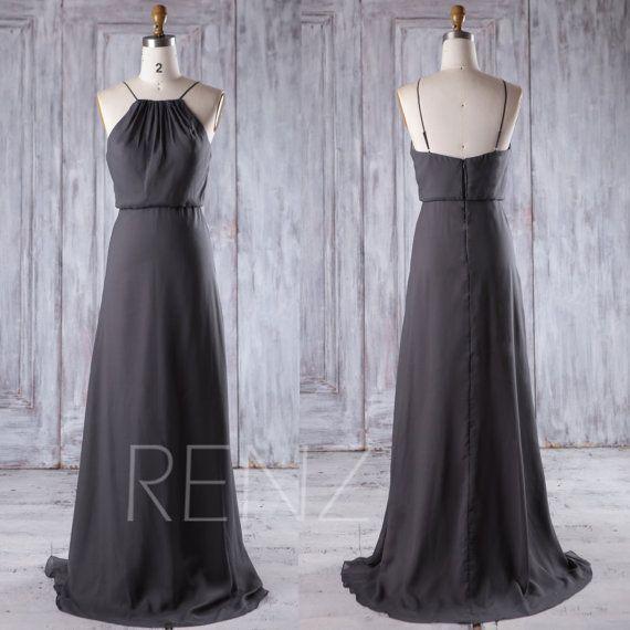 Charcoal Gray Chiffon Bridesmaid Dress Long Spaghetti