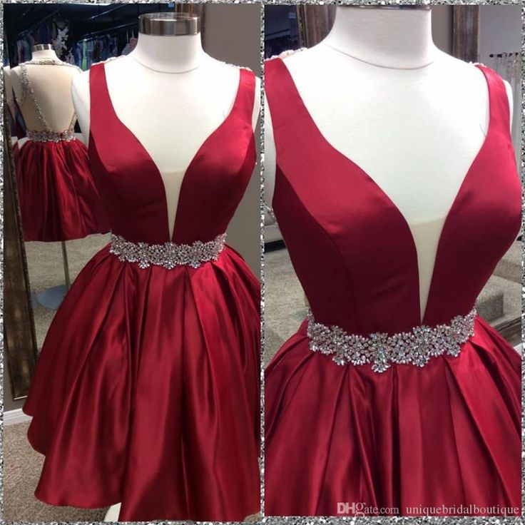 Red Dress, Homecoming Dress, Cute Dress, Open Back Dress, Dark Red Dress, Red Homecoming Dress