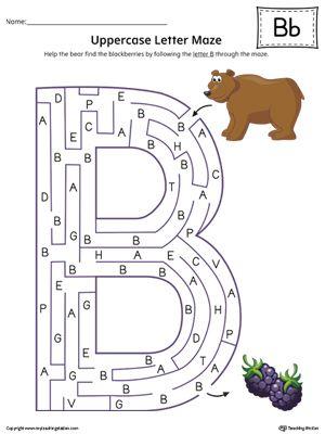 Uppercase Letter B Maze in Color
