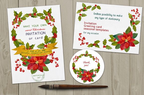 Check out Christmas Watercolor graphics DIYset by Digital art shop on Creative Market