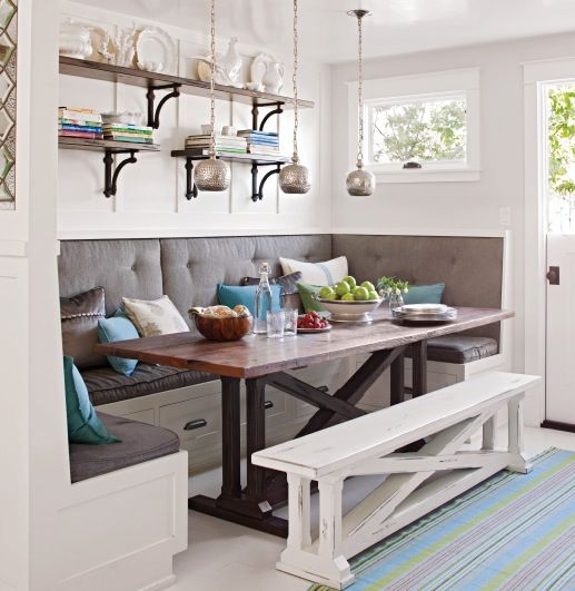 Awesome breakfast nook built in bench dining table and free standing bench upton abbey co - Kitchen corner nooks ...