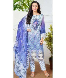 Festive Blue And Multi-Color Pashmina Straight Suit.
