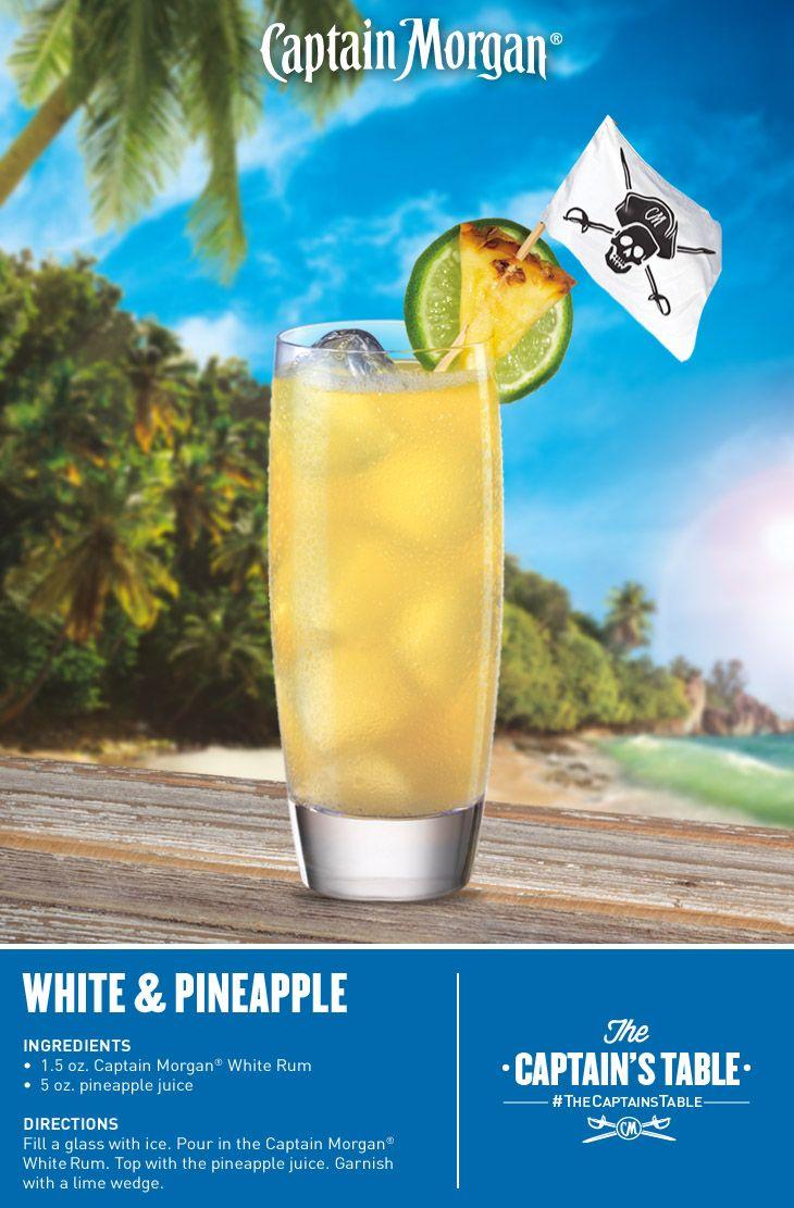 Sweet, tangy and fun! 1 1/2 oz Captain Morgan white rum, 5 oz pineapple juice