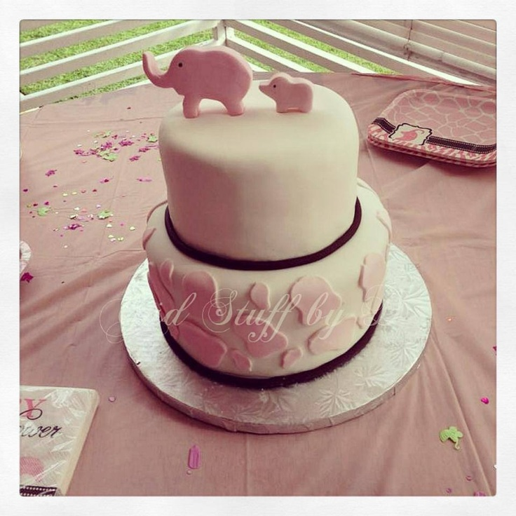 Elephant Themed Baby Shower: Delicate Elephant Themed Baby Shower Cake For A Baby Girl
