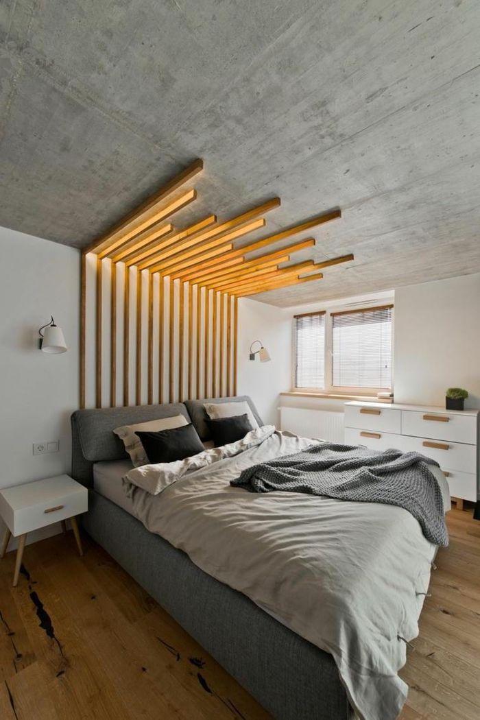 De Haute Qualite ▷ 1001 + Idées Pour Fabriquer Une Tête De Lit En Bois Originale | Ремонт 2  | Apartment Interior Design, Small Apartment Interior Et Gray Bedroom