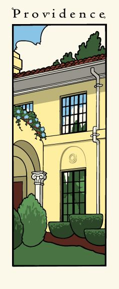 Silk screen print of a Mediterranean style home in Providence, Rhode Island.