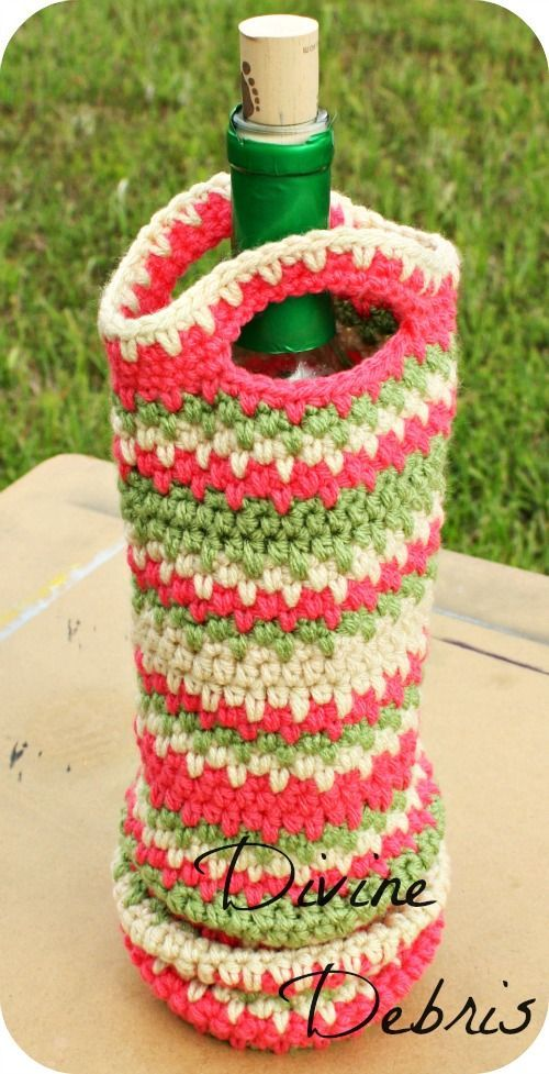 Willow Bottle Holder - Free Crochet Pattern by Divine Debris ༺✿ƬⱤღ  https://www.pinterest.com/teretegui/✿༻
