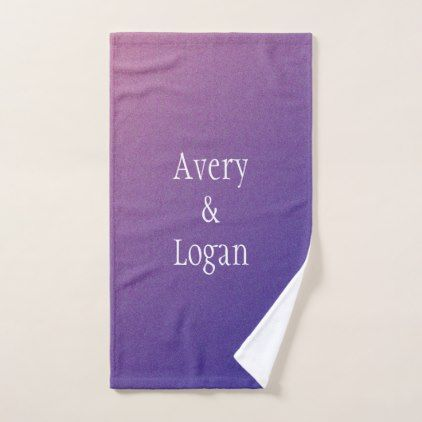 Purple Gradient Shimmer Couples Hand Towel - glitter glamour brilliance sparkle design idea diy elegant