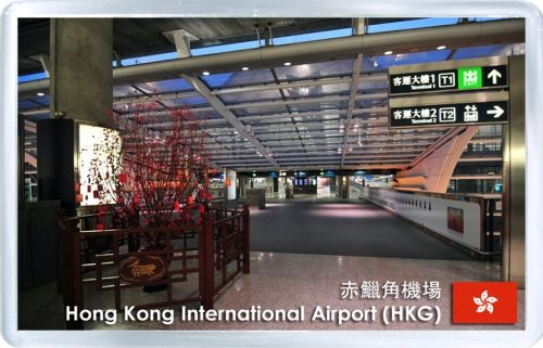 Acrylic Fridge Magnet: Hong Kong. Hong Kong International Airport HKG