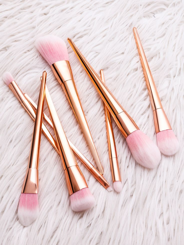 Pink And Gold Professional Cosmetic Makeup Brush Set -SheIn(Sheinside)