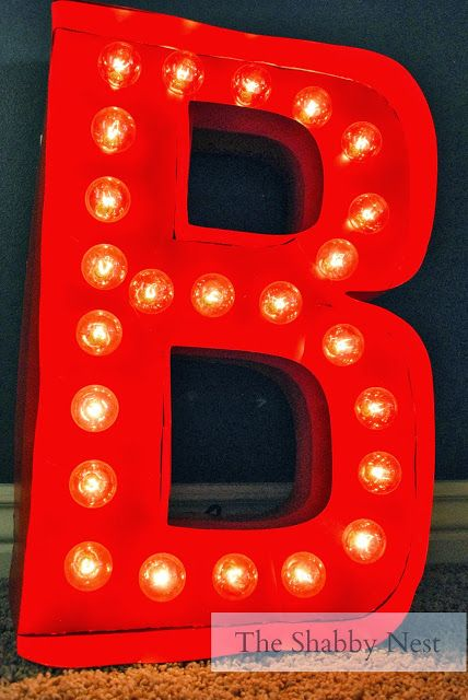DIY Light-up Marquee Letter by The Shabby Nest