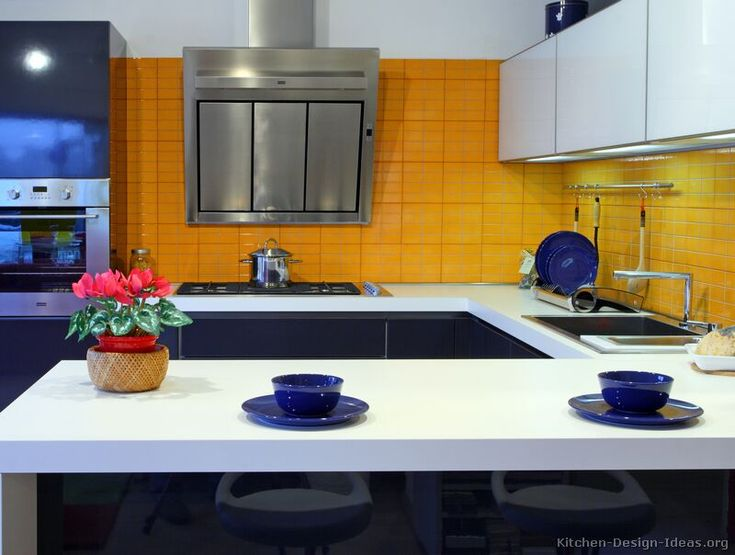 Nautical Navy Kitchen Cabinets And Yellow Kitchen   Yahoo Image Search  Results