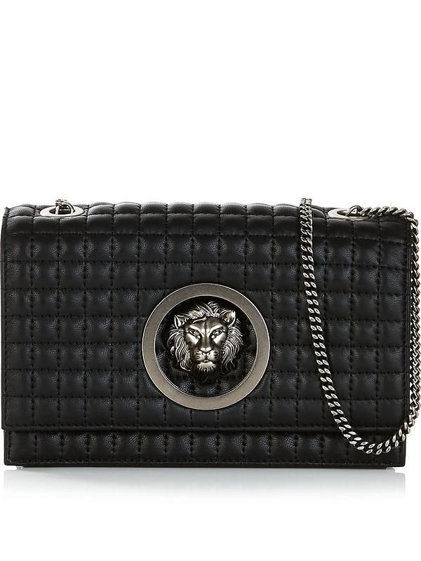 1531332c547d VERSUS VERSACE Lion Head Quilted Cross-Body Bag - Black
