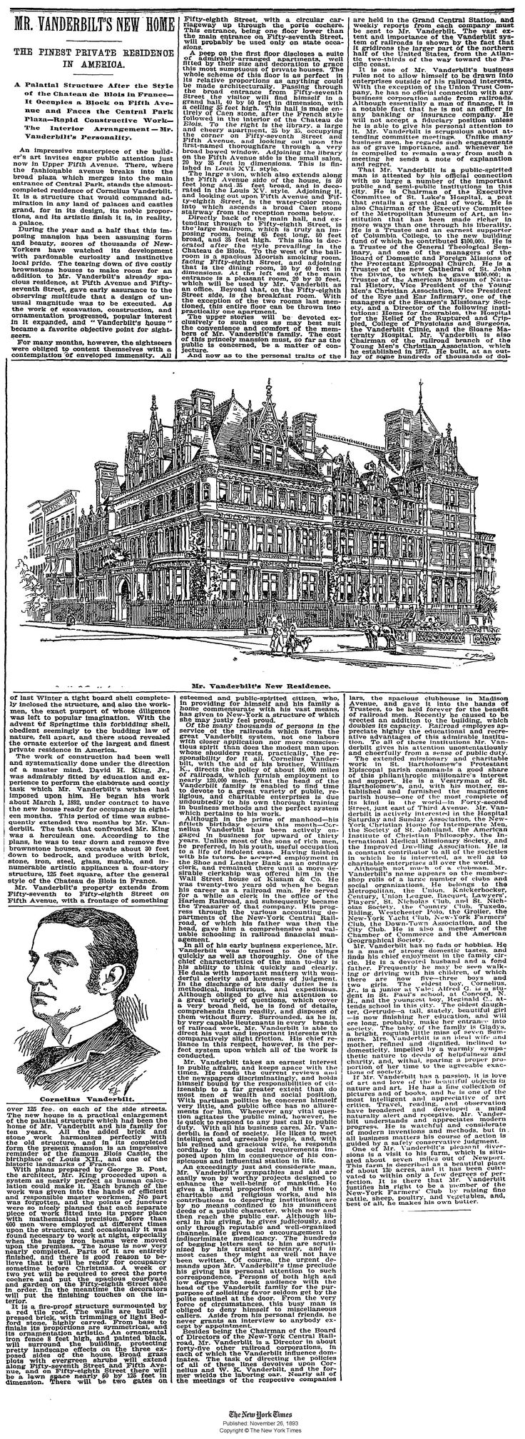 Nyc apartment cooper and vanderbilt at carter s funeral service above - Cornelius Vanderbilt Ii Residence New York Ny Ny Times 26 Nov 1893
