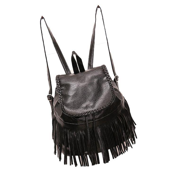 Tassel Weave Leather Backpack Black Vintage Travel Rucksack Girls School Bag for College Students Mochila De Couro #06908