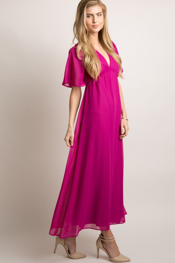 c7caf4a8e5 Magenta Chiffon Bell Sleeve Maxi Dress