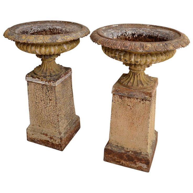 Pair Of Large Cast Iron Urns On Bases. France 19th Century | Urn, Iron And  Planters