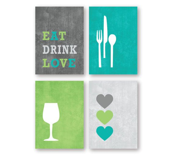 Modern Kitchen or Dining Room Wall Art Print Set - Eat Drink Love - (4) 8 x 10 or 5 x 7 Prints - Charcoal Gray, Turquoise and Green