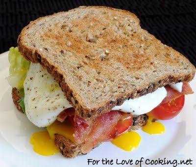 B, l, t, a, e (bacon, lettuce, tomato, avocado and egg sandwich)