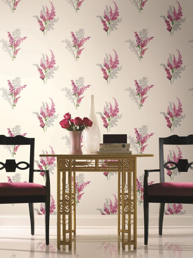Watercolour inspired floral design wallpaper in pink tones on a cream background, from the Watercolours collection by Carey Lind Designs, WT4573 by York Wallcoverings. Available through Guthrie Bowron stores in New Zealand.