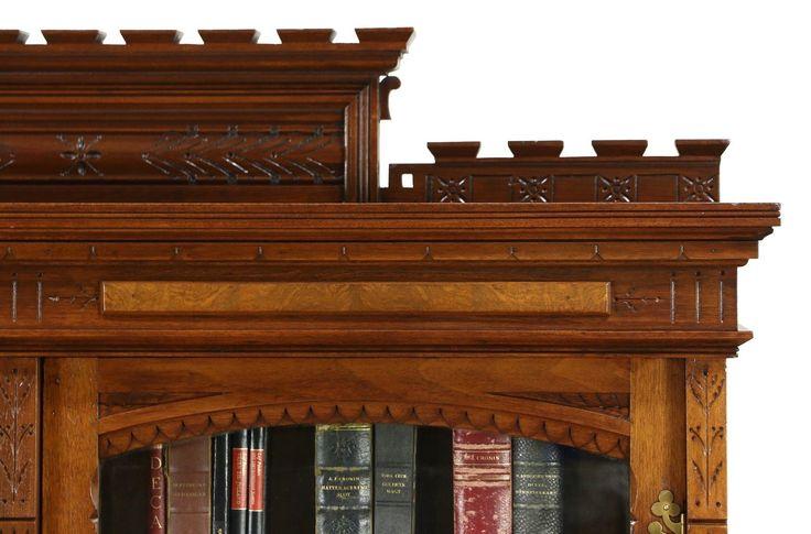 Victorian Eastlake 1870's Antique Library Carved Walnut Bookcase | eBay