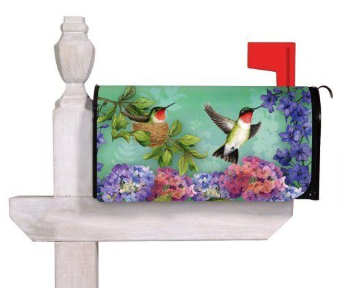 """Hummingbird Nest Mailbox Cover by House-Impressions. $12.99. Cut-out for both flag and mailbox handle. 18"""" x 24"""". All-weather and fade resistant. Magnetic. A simple metal mailbox makes no statement about its owners, but adding the this Mailbox Cover introduces hospitality, style, and personal pride. Weather and fade resistant, this mailbox cover will fancy up your driveway for years to come.. Save 37% Off!"""