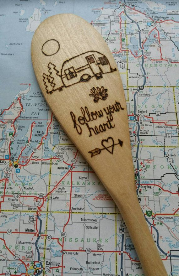 Camping, Camper, Camp Cooking, Wood Burned Spoons, Pyrography, Wooden Kitchen Spoon