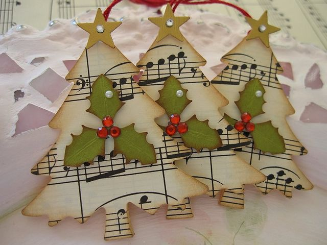 tree ornaments from sheet music or tags. Close to My heart , has a great music stamp, if you cant find old sheet music.