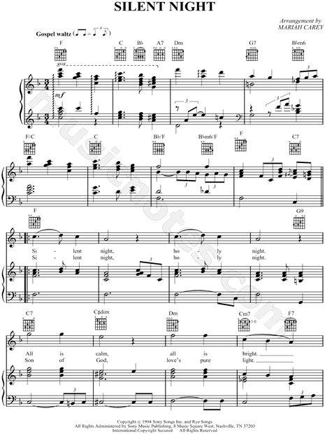 Silent Night sheet music by Mariah Carey
