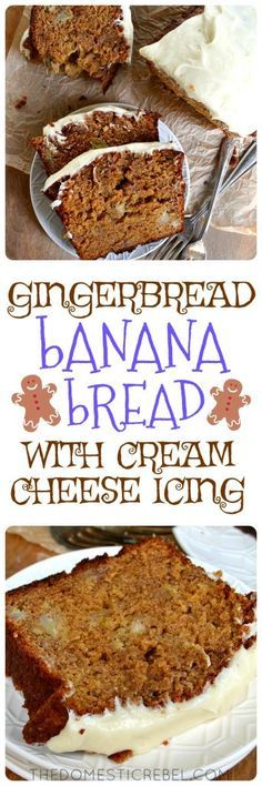 Gingerbread Banana Bread is a unique, festive & easy twist to basic banana bread - with a gingerbread twist! Flavored with ginger, cinnamon, cloves & molasses, this moist & fluffy banana bread is topped with a decadently creamy cream cheese icing. Dessert or breakfast? Why not both!