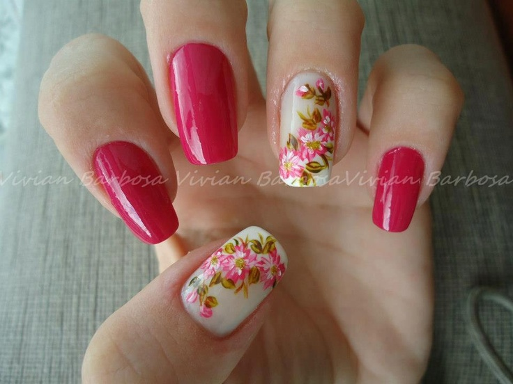 nail art water decal flowers- If I got my nails done, this is what I'd go for!  Pretty