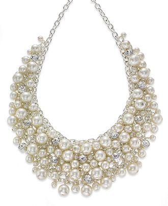 Charter Club Necklace, Silver-Tone Glass Pearl Cluster Bib Necklace - Fashion Necklaces - Jewelry & Watches - Macy's