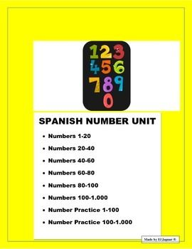 This wonderful 9 page Number unit has all the handouts you need to have students write and practice numbers.  It has all the numbers from 1-100.  It also has additional oral listening practice exercise and a worksheet to conttinue from 100-1.000.  It is essential for student to learn their numbers well.