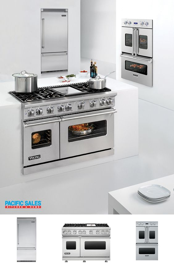 That Viking range!! Ohhh that Viking Wall Oven!! AND a Viking French door double oven that features side swing doors for easier accessibility. We are in AWE too! Inspired by commercial ovens, its large 4.7 cubic foot capacity and patented convection system make it perfect for home chefs. Visit our Viking page to learn more.