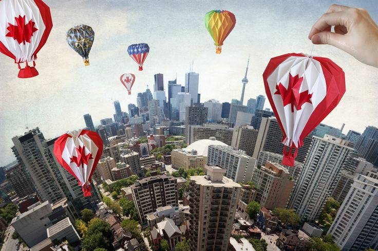 https://flic.kr/p/v9mJX2 | Celebrating Canada Day on Toronto Planet | Happy Canada Day / Bonne fête du Canada! :-)  Flying our Canadian origami hot air balloons over Toy-ronto planet! And you can see some friendly balloons from our south neighbours join celebration fun :-)  How can I resist casting some globular magic over Toronto cityscapes along with origami wonders on this occasion?! :-)  *A note for origami enthusiasts: The diagrams of our origami hot air balloon are published in our…